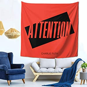 Charlie Puth Nine Attention Tapestry Mural Wall Hanging Decor for Bedroom Living Room Dormitory Apartment Tapestry 59 X 59 Inch