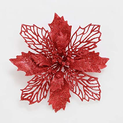 mobuy poinsettia christmas decorations christmas flowers glitter christmas tree decorations and ornaments 12 pack