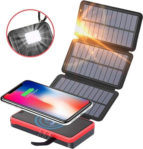 Solar Charger 25000mAh Portable Power Bank with 3 USB Ports Flashlight