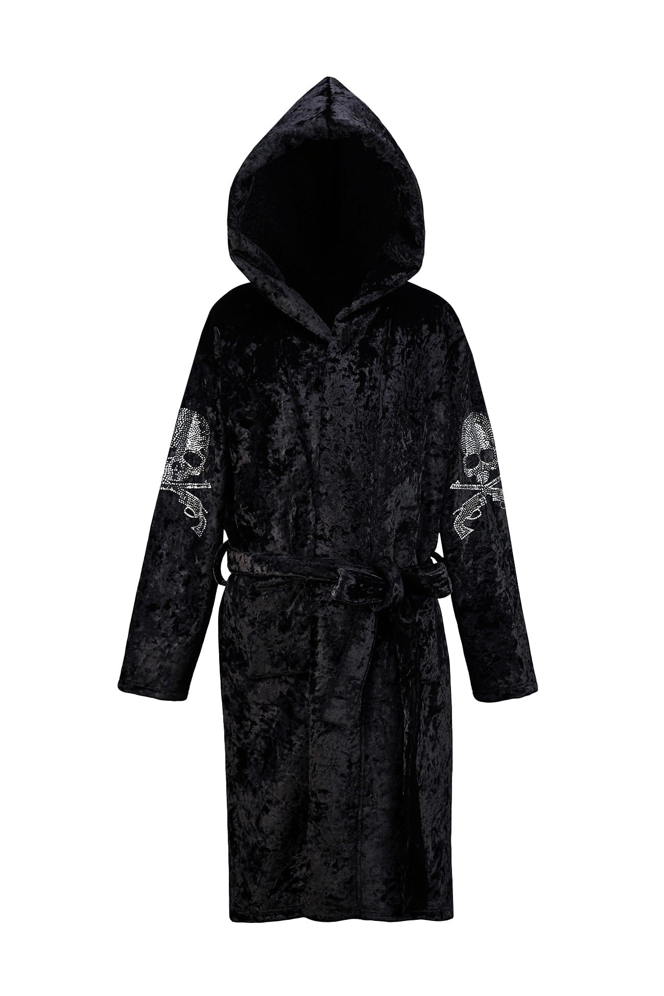ByTheR Luxury Sleek Skull Glass Detailed Black Velvet Hoodie Gown Cardigan by ByTheR