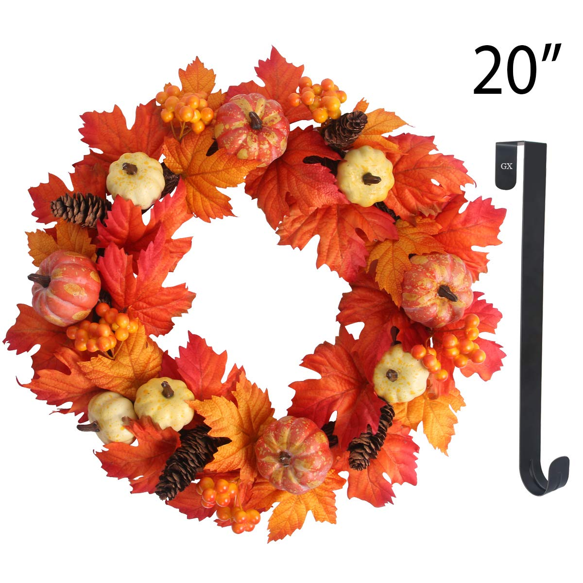 GameXcel Fall Wreaths for Front Door Maple Leaf Wreaths 20'' Fall Door Wreath Artificial Wreaths with 15'' Black Hanger Pumpkin Wreath Home Decor for Window, Halloween, Thanksgiving by GameXcel