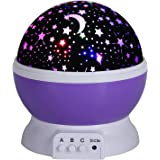 Discoball Cute Starry Night Light Projection Lamp, Romantic Cosmos Starlight Desk Lighting Projector for Kids Baby Nursery Bedroom Children Room Decoration and Birthday Christmas Gift [Moon Star Dreamer Sky] (Purple)