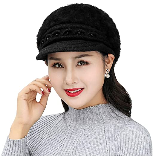 CHIC DIARY Winter Hats for Women Outdoor Warm Knit Snow Ski Crochet Skull  Cap with Visor e1973a3fa726