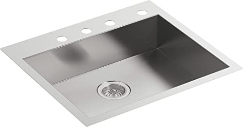 KOHLER Vault 25 Single Bowl 18-Gauge Stainless Steel Entertainment Bar Secondary Kitchen Sink with Four Faucet Holes K-3894-4-NA Drop in or Undermount Installation
