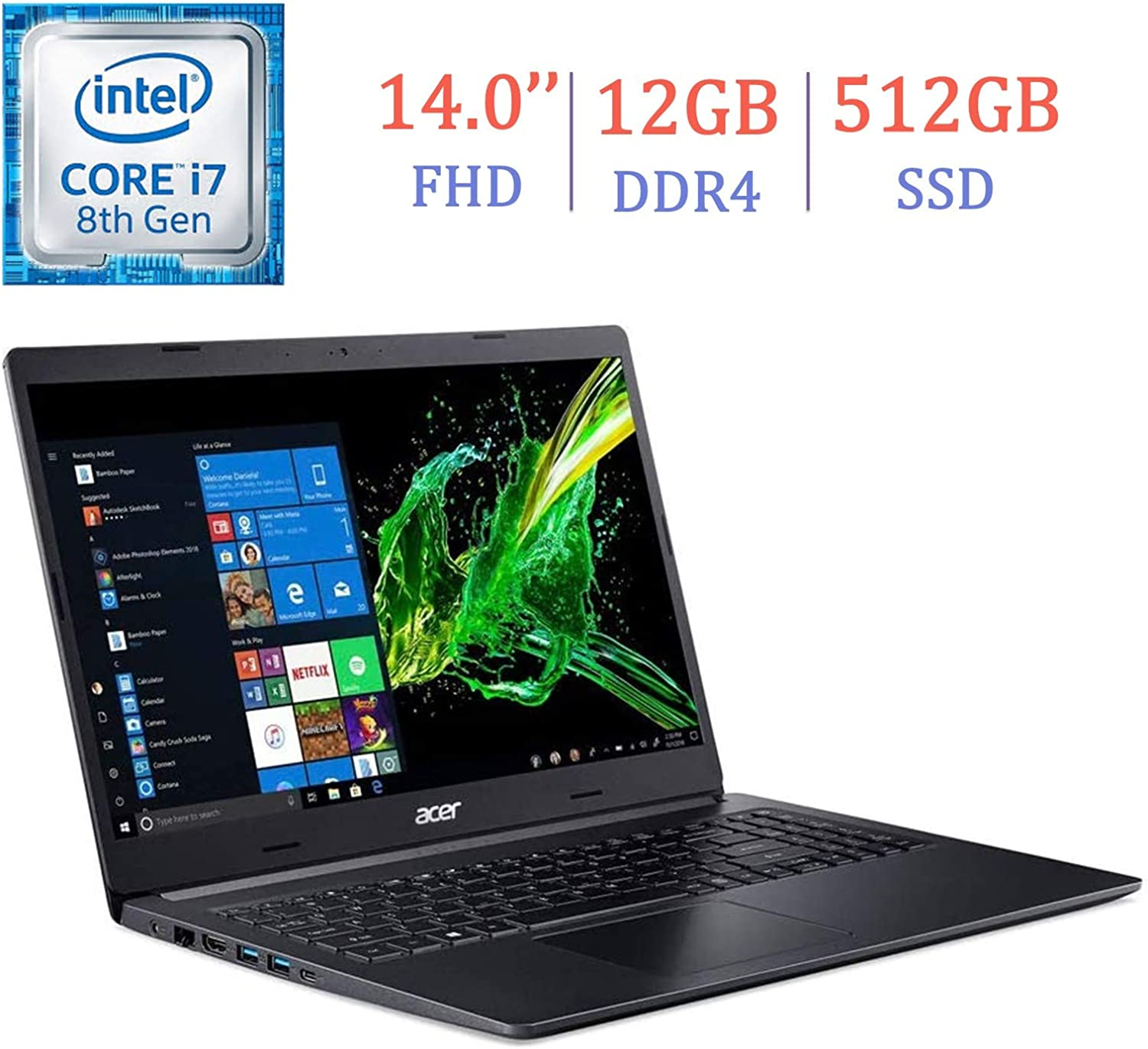 Acer Aspire 5 14-inch FHD (1920x1080) IPS Display Laptop PC, Intel Quad-Core i7-8565U, 12GB DDR4, 512GB SSD, WiFi, HDMI, USB-C, Bluetooth 5.0, Stereo Speaker, Up to 9.5 Hrs Battery, Windows 10 Home