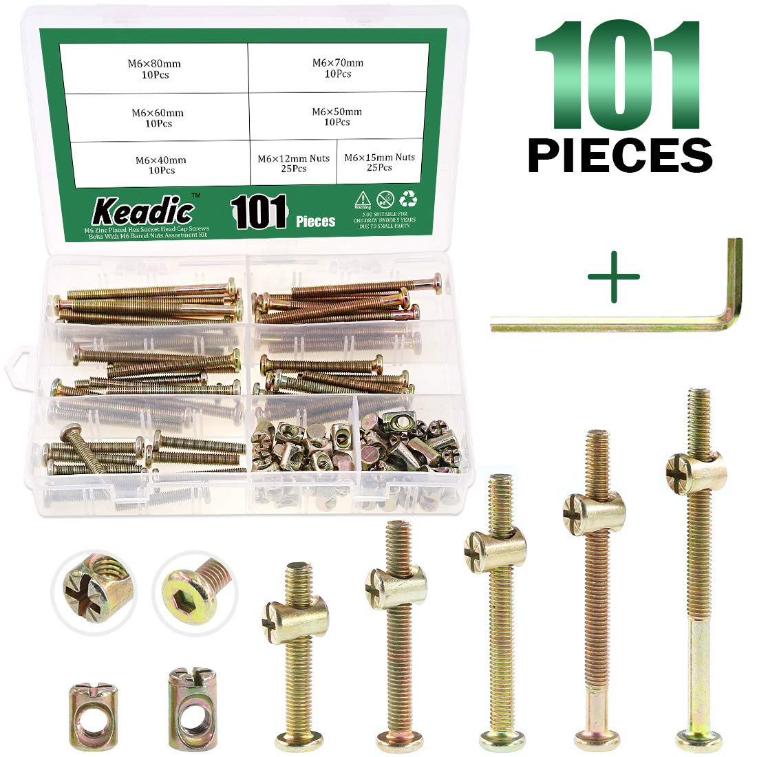 Keadic 100Pcs M6 40/50/60/70/80mm Baby Bed Screws Hardware Replacement Kit, Hex Socket Head Cap Screws Nuts for Furniture Cots Beds Crib, 1 Hex Key for Free - Zinc Plated High Speed Steel