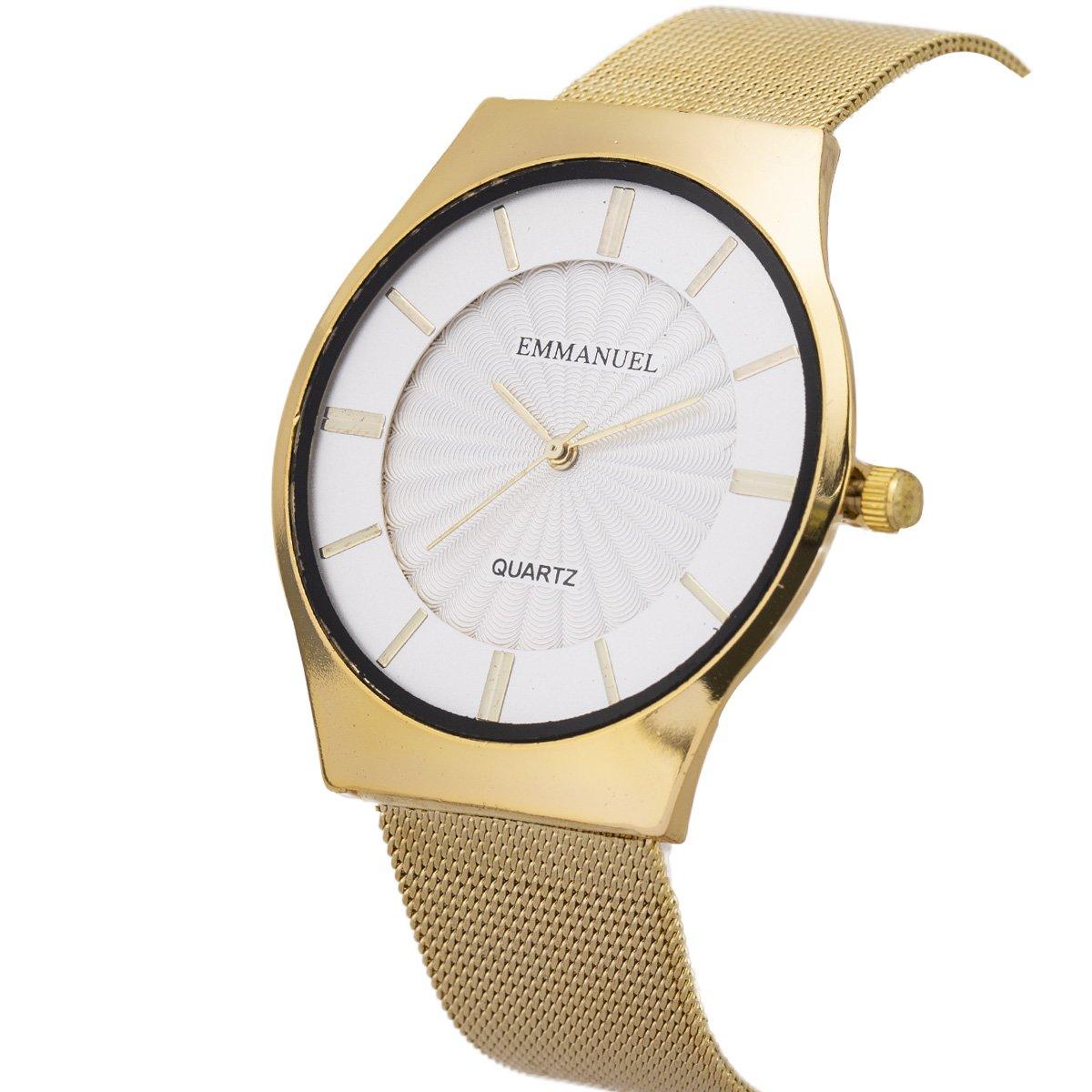 Wrist Watch Men Ultra-Thin Minimalist Mesh Stainless Steel Band SIBOSUN Quartz Analog Gold