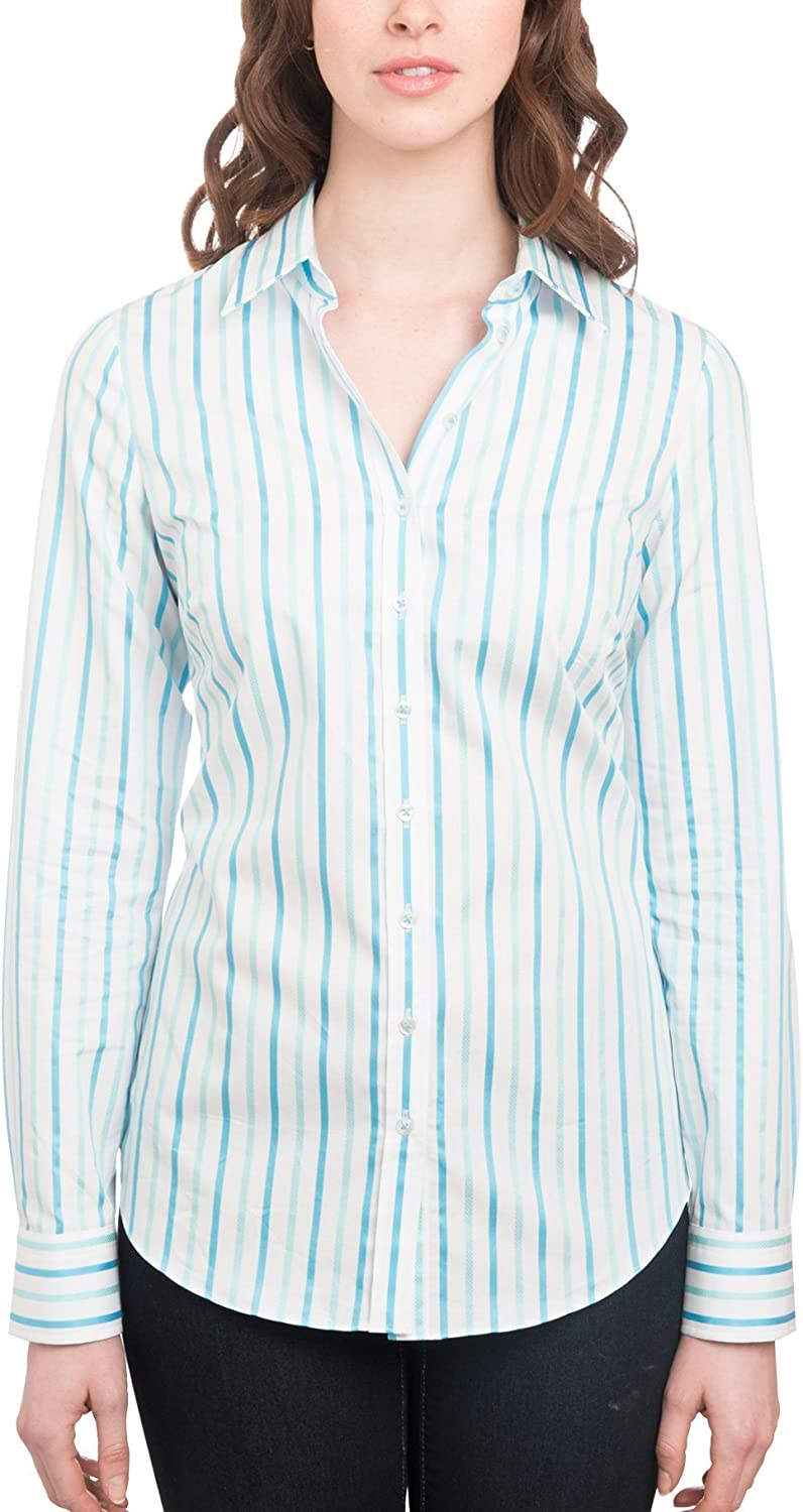HAWES /& CURTIS Womens White /& Turquoise Multi Stripe Semi Fitted Shirt Single Cuff
