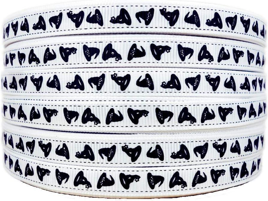 50 Yards Halloween Black Bats Pattern Printed 3//8 White Grosgrain Ribbons