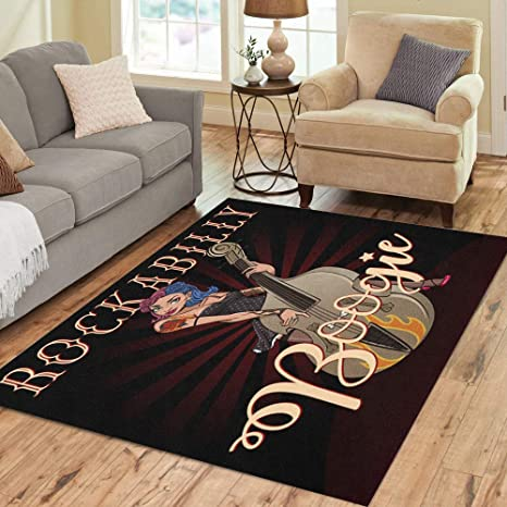 a288a043d1d7 Amazon.com: Pinbeam Area Rug Rockabilly Boogie Vintage of Pinup Rock ...