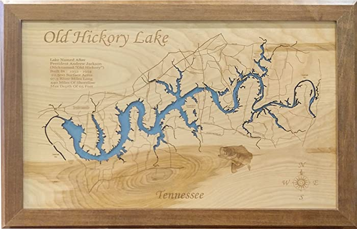 Old Hickory Lake Topographic Map.Amazon Com Old Hickory Lake Tennessee Framed Wood Map Wall