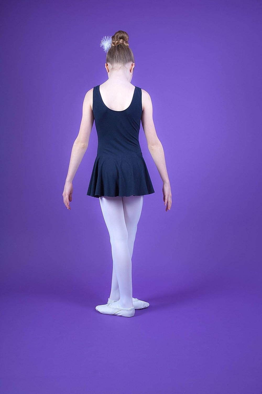 Bianco Fucsia Blu Marino Nero tanzmuster Body da Danza Classica Nora con gonnelino per Bambini in Rosa Borgogna e Lavanda Celeste Viola