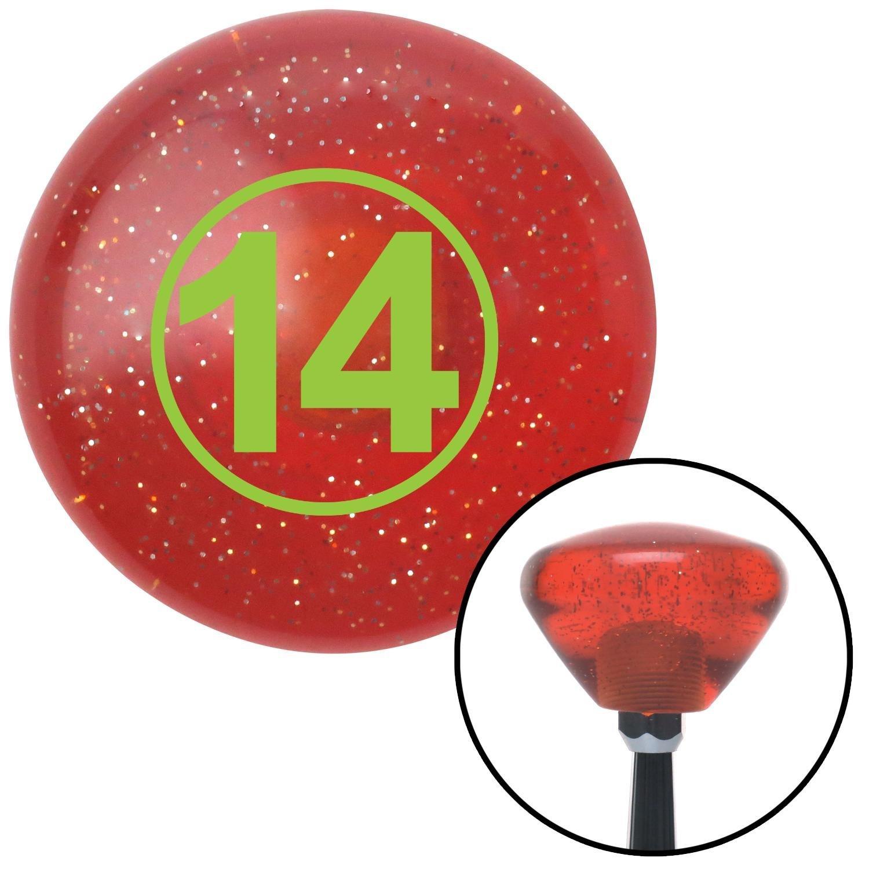 Green Ball #14 American Shifter 176841 Orange Retro Metal Flake Shift Knob with M16 x 1.5 Insert