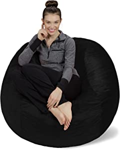 Sofa Sack - Plush, Ultra Soft Bean Bag Chair - Memory Foam Bean Bag Chair with Microsuede Cover - Stuffed Foam Filled Furniture and Accessories for Dorm Room - Black 4'