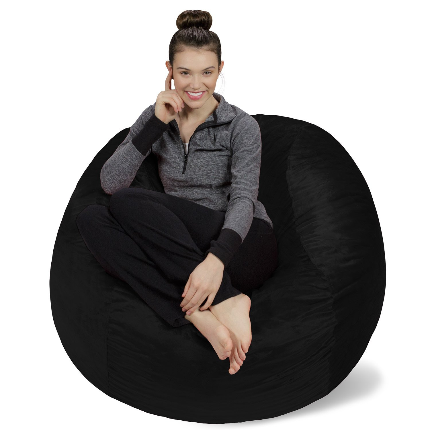 Sofa Sack - Bean Bags Memory Foam Bean Bag Chair, 4-Feet, Black
