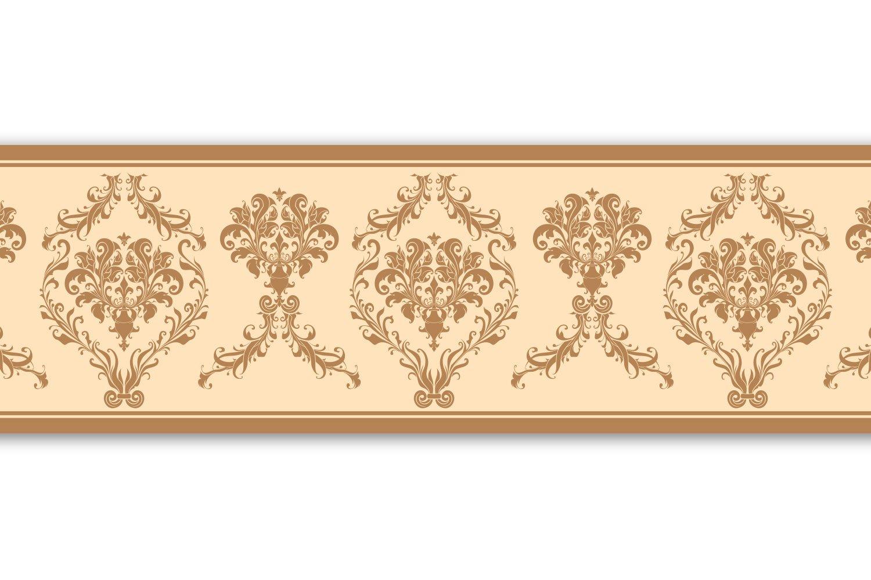 Selbstklebende Bordü re 'Barockmuster', 4-teilig 560x15cm, Tapetenbordü re, Wandbordü re, Borte, Wanddeko,beige , gelb wandmotiv24