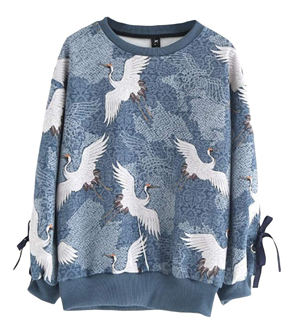 pipigo Womens Casual Graphic Round-Neck Long Sleeve Pullover Sweatshirts Blue One Size