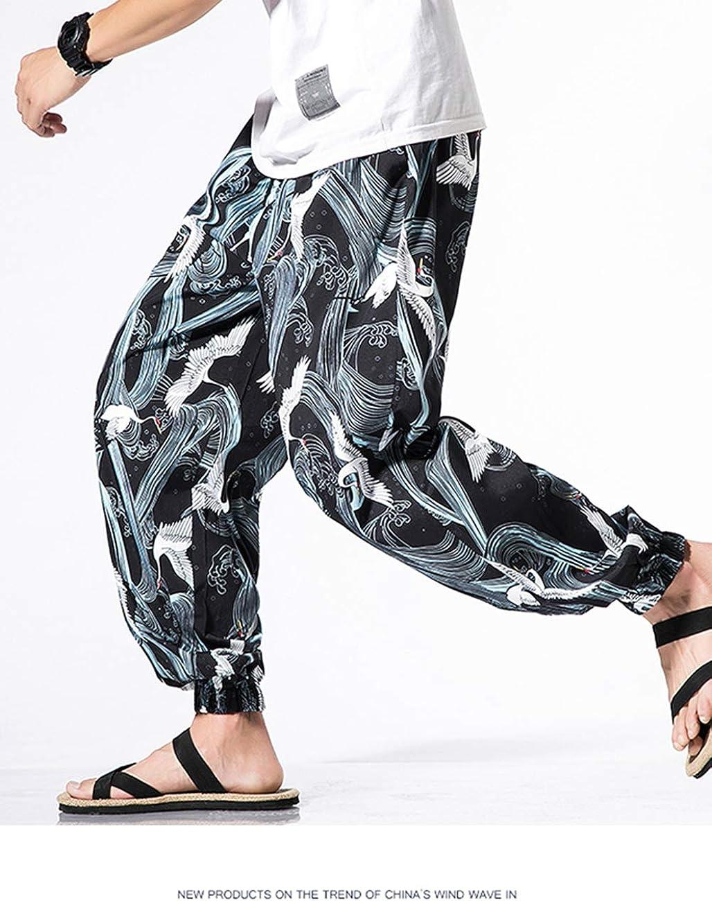 besbomig Pantaloni Aladino Harem Pantaloni Uomo Baggy Hippie Pantaloni Larghi a Cavallo Basso con Tasche Great Comfort