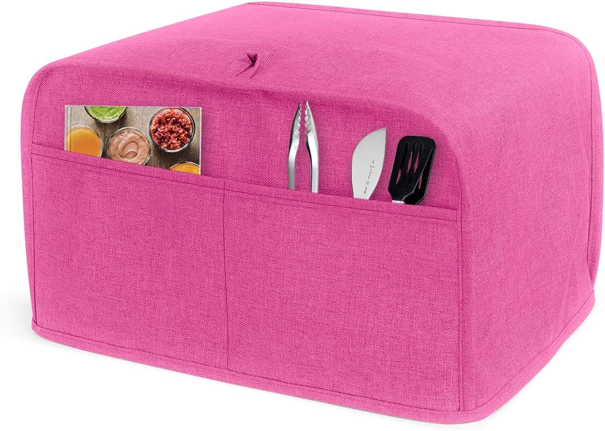 LUXJA 2 Slice Toaster Cover (11 x 7.5 x 8 inches), Toaster Cover with 2 Pockets (Fits for Most Major 2 Slice Toasters), Pink