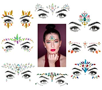 74de682c7 BLing 8 Sets Mermaid Face Gems Glitter,Rhinestone Rave Festival Face  Jewels,Crystals Face