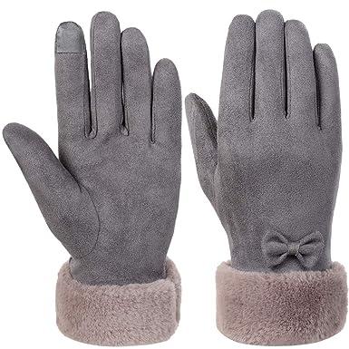 VBIGER Gants Tactiles Hiver Chaud Conduite Cuir Vogue pour Femme, Gris  3310991, Large 29e2e5bd354