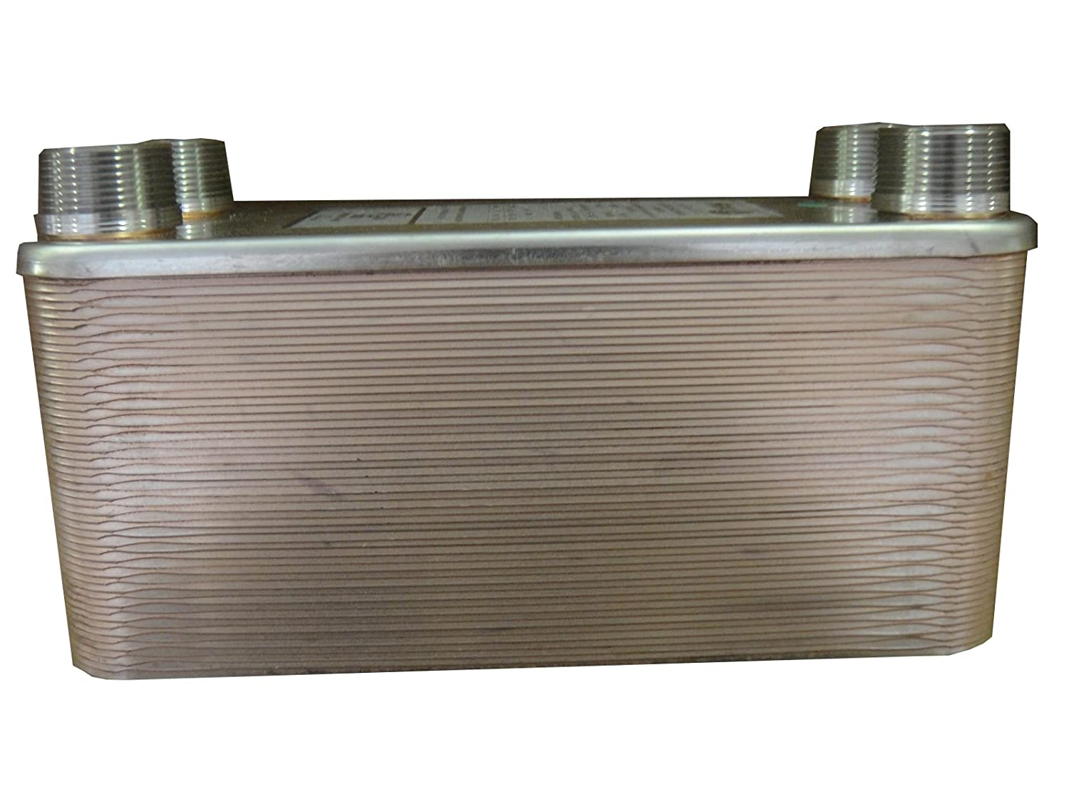 """50 Plate Water to Water Heat Exchanger - 5"""" x 12"""", 1 ¼"""" MPT Ports - American Royal"""