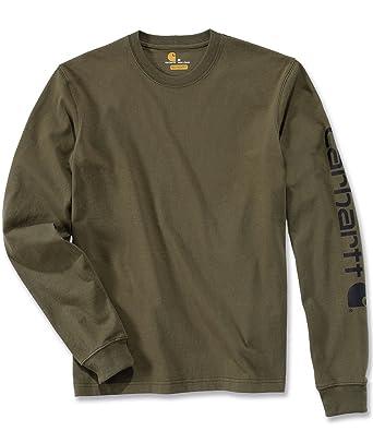 2c09686b3f4 Carhartt Men s Logo Long-Sleeve Workwear T-Shirt Army Green XX-Large ...