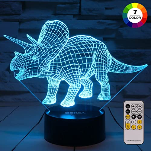 ZOKEA Night Lights For Kids Dinosaur 3D Light Bedside Lamp 7 Colors Changing With Remote