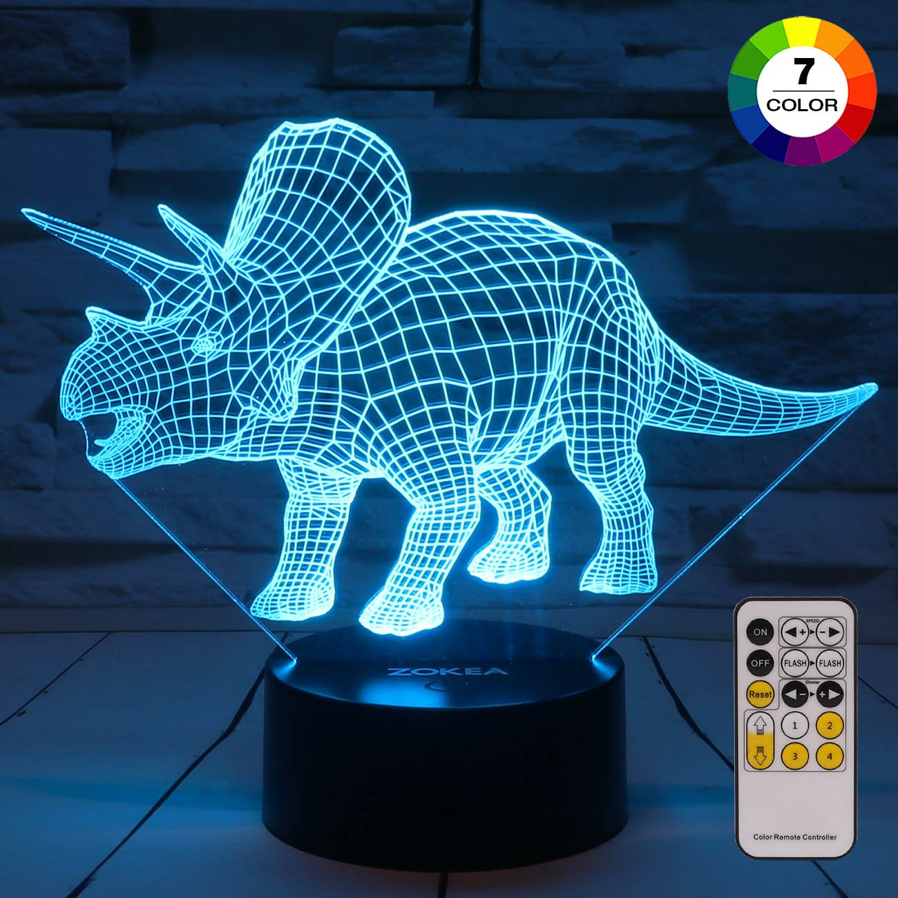 ZOKEA Night Lights for Kids Dinosaur 3D Night Light Bedside Lamp 7 Colors Changing with Remote Control Best Birthday Gifts for Boys Girls Kids Baby (Dinosaur Triceratops)