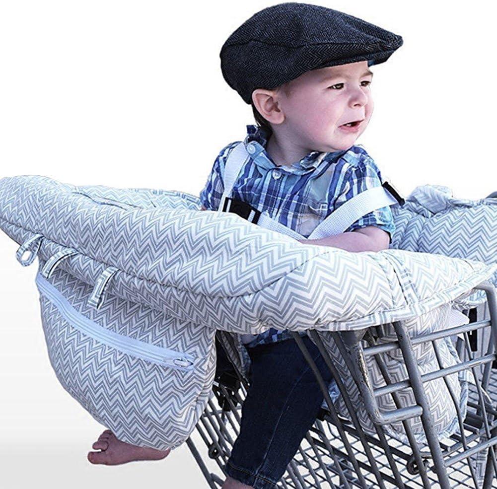 LeRan - Fundas de asiento ajustables para bebé supermercado de la compra con bolsa de transporte, sillas de paseo lavables y organizadores más suaves, para mantener a los niños seguros (gris)