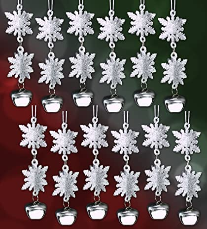 3d snowflake christmas ornaments set of 12 silver glitter snowflake ornaments with jingle bells - Snowflake Christmas Decorations