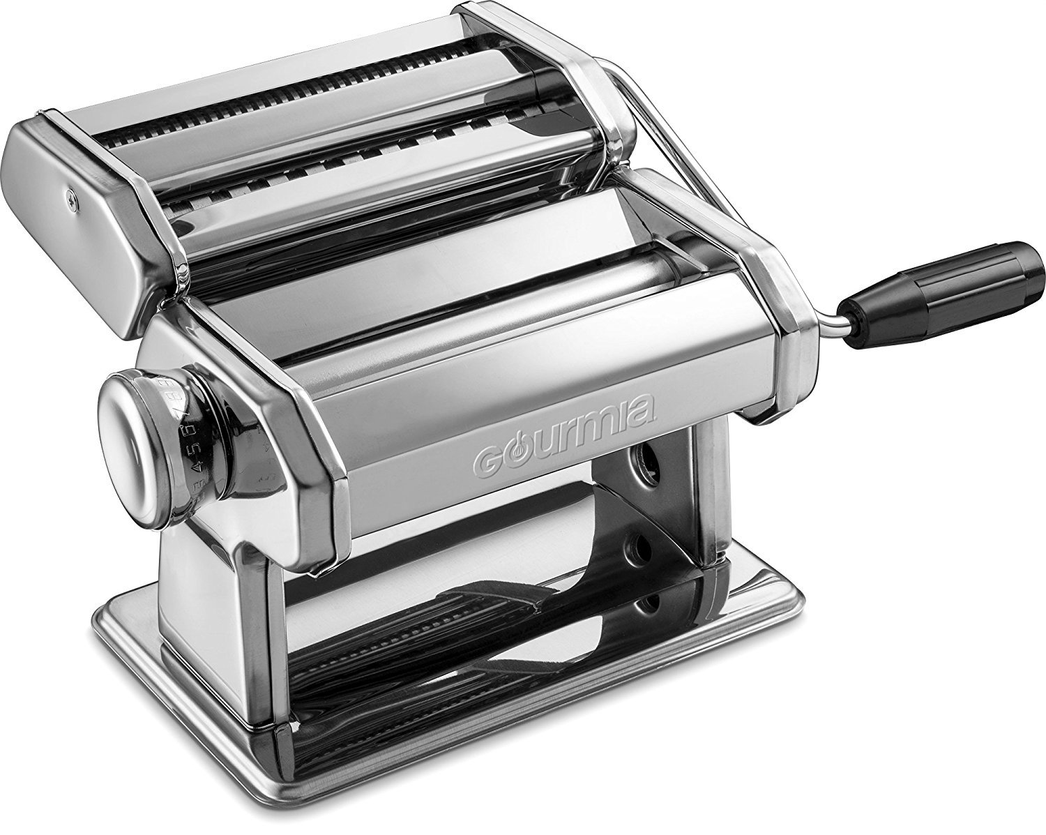 Gourmia GPM9980 - Pasta Maker, Roller and Cutter - Manual Hand Crank - Slices Dough into Spaghetti and Fettuccine - Stainless Steel Surface and Chrome Plated Parts - 150mm