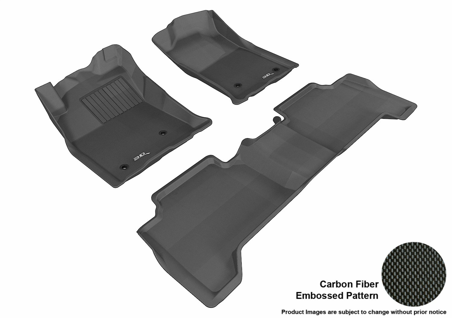 L1TY05701501 Gray 3D MAXpider Complete Set Custom Fit All-Weather Floor Mat for Select Toyota Tacoma Models Kagu Rubber