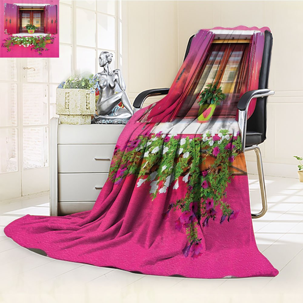 Nalahomeqq Pink Blanket Dreams Romantic Atmosphere Custom Lovers House Wooden Windows Hearts Flowers Bougainvilleas Fantastic Decorations Digital Printed Photo Print Fabric Fuchsia Green White