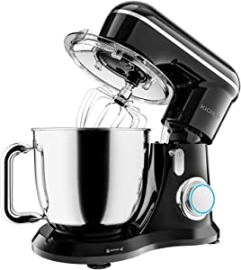 KICHOT Stand Mixer, 10-Speed Kitchen Electric Food Mixer, 4.8QT Tilt Head Mixer with Dough Hook, Flat Beater, Wire Whisk and Splash Guard (Black)