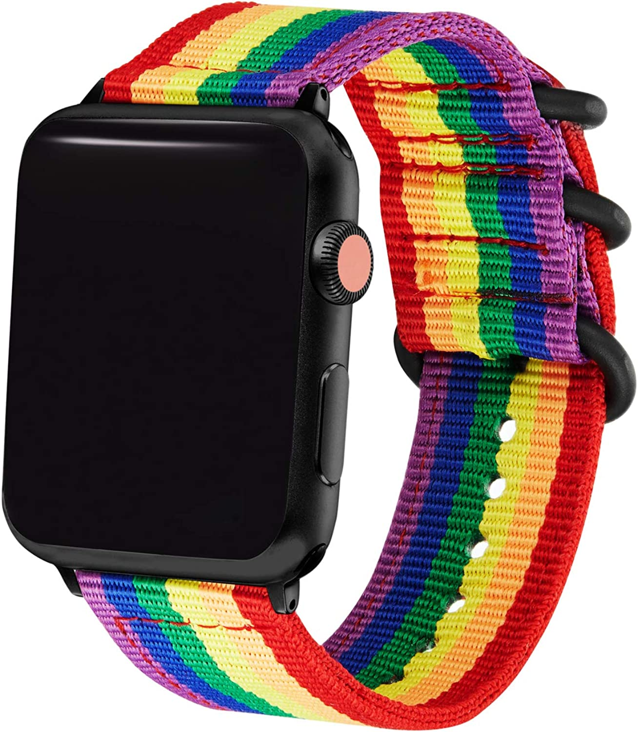 dkplnt 38mm 40mm Rainbow Compatible Apple Watch Band Nylon Colorful LGBT Black NATO Buckle iWatch Band Series 5 4 3 2 1 Women Men