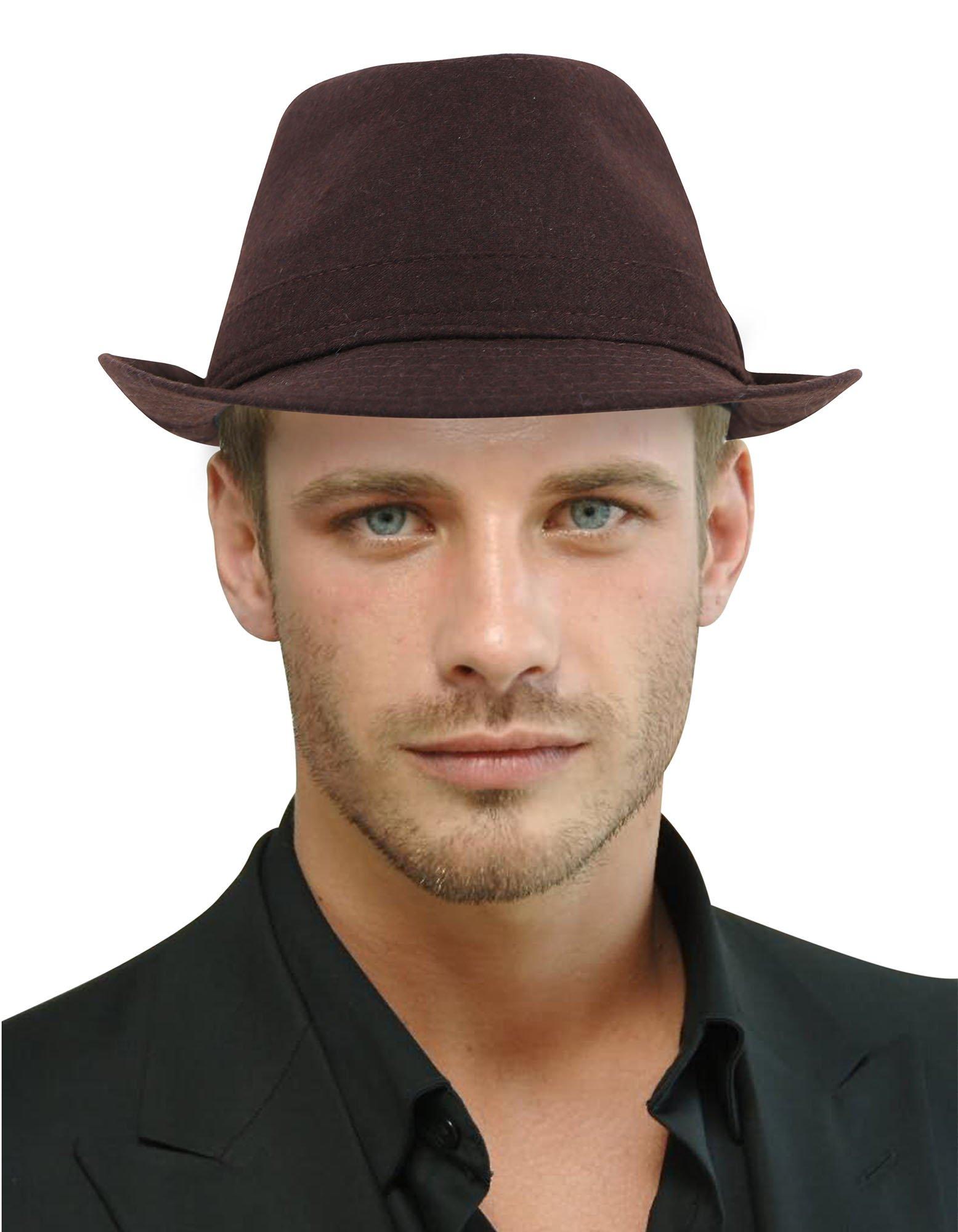 Fedora Hats for Women Classic Short Brim Manhattan Gangster Trilby Cap, Brown