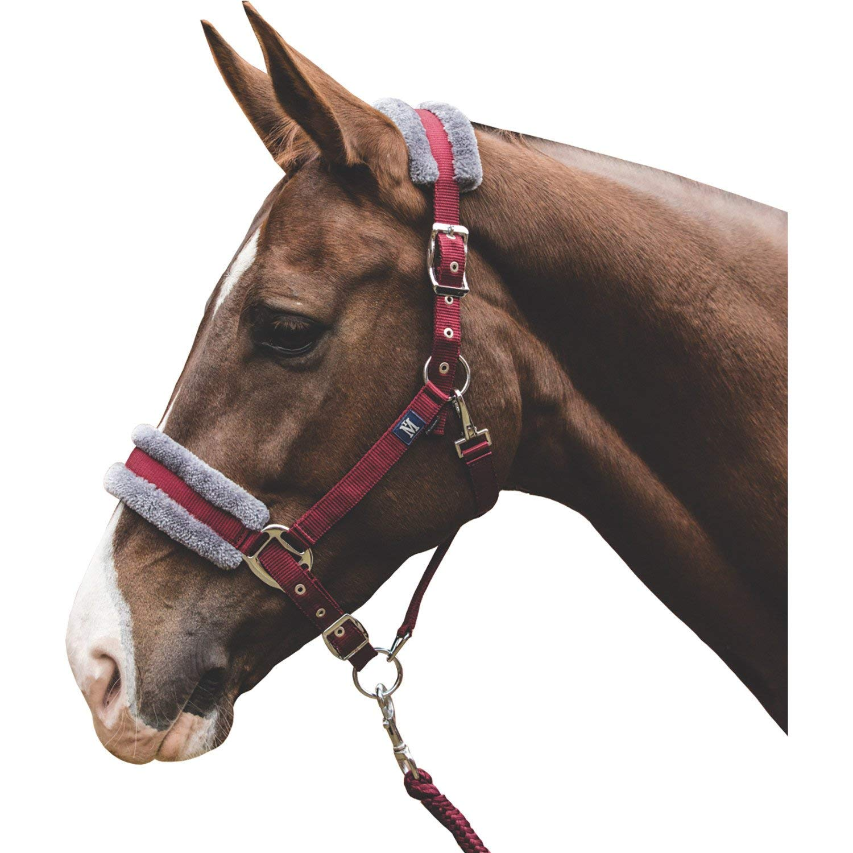 Mark Todd Fleece Headcollare lineare e Leadrops Pony Borgogna Grey