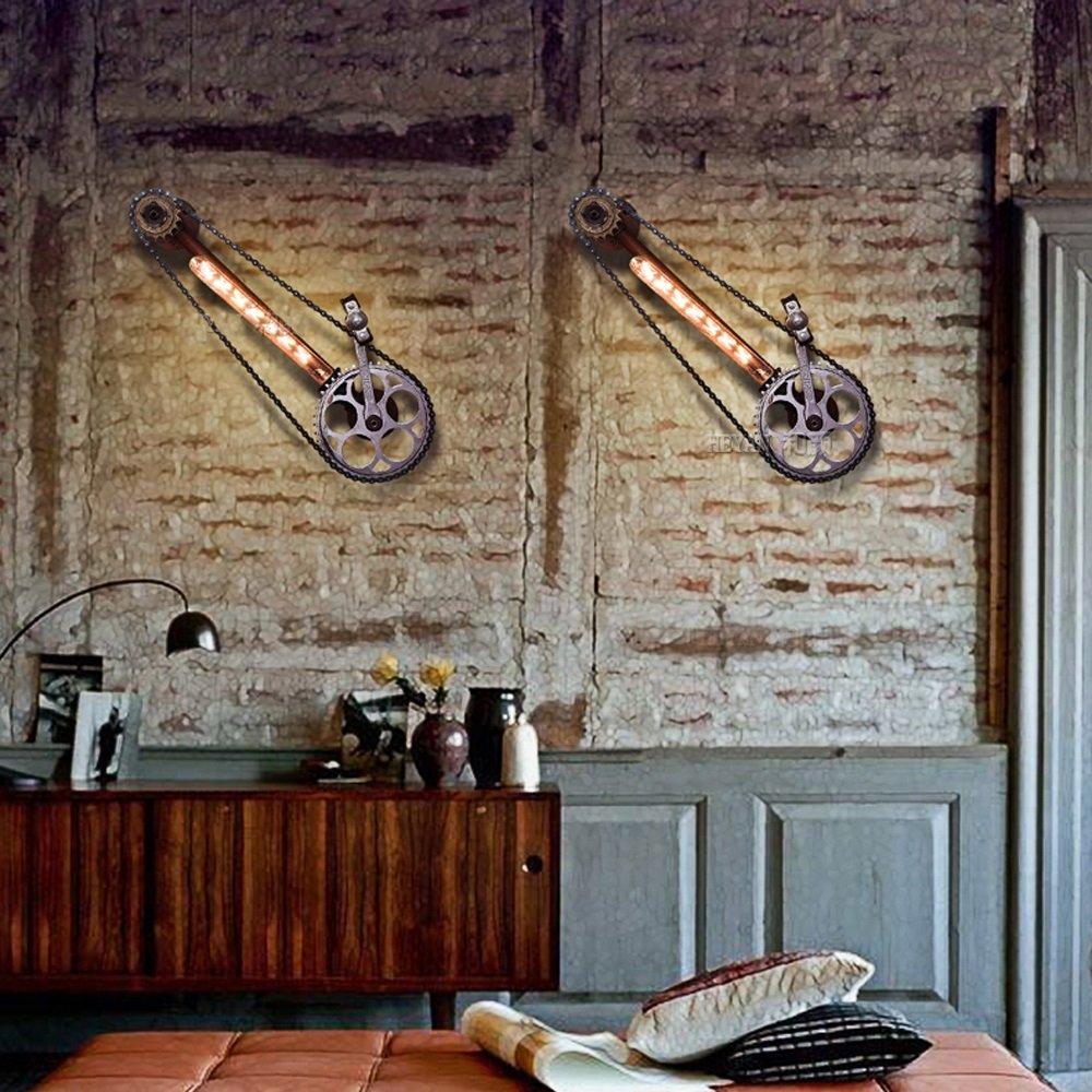 Bicycle chain wall lamp Retro wall lamp Industrial wall lamp Iron wall lamp Restaurant Bar Café Attic corridor balcony Basement Garage 23.2 Inch long by Lizichun (Image #3)