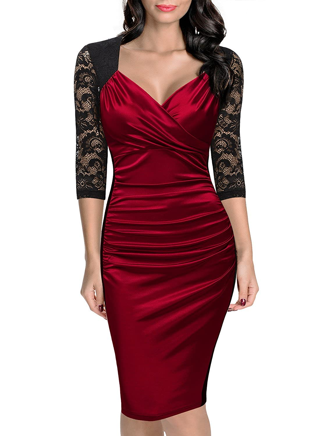 Miusol Women's Deep-V Neck Ruffles Floral Lace Fitted Retro Evening Pencil Dress QF3329