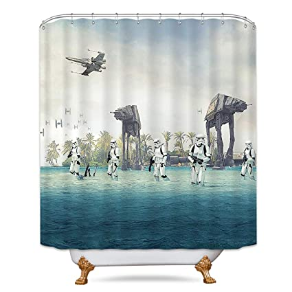 AT Empire Strikes Back In Star Wars Movie Shower Curtain Set Blue Ocean Green