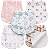 5-Pack Baby Burp Cloths for Girls, Triple Layer, 100% Organic Cotton, Soft and Absorbent Towels, Burping Rags for Newborns Baby Shower Gift Set by AiKiddo