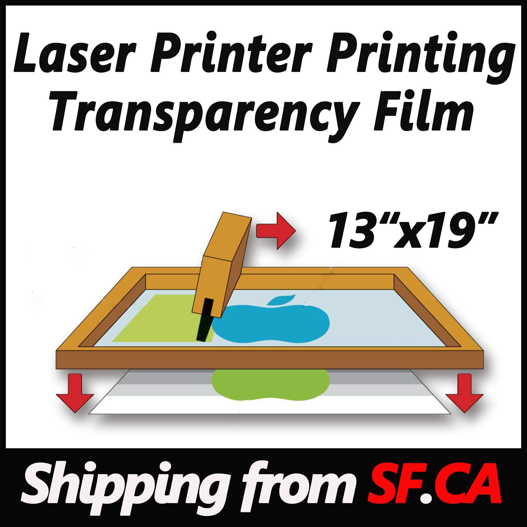 50 sheets,13''x19'',Laser Printer Printing Transparency Film for Silk Screen Printing for Laser HP,Canon,Brother,OKI,EPSON Printers