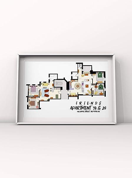Friends TV Show Apartment Floor plan- Monica Raceh Joey Chandler home Floor  Plan 13x19
