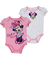 """Minnie Mouse Infant Baby Girls """"Look at Me"""" Creeper Onesie Bodysuit, 2-Pack"""
