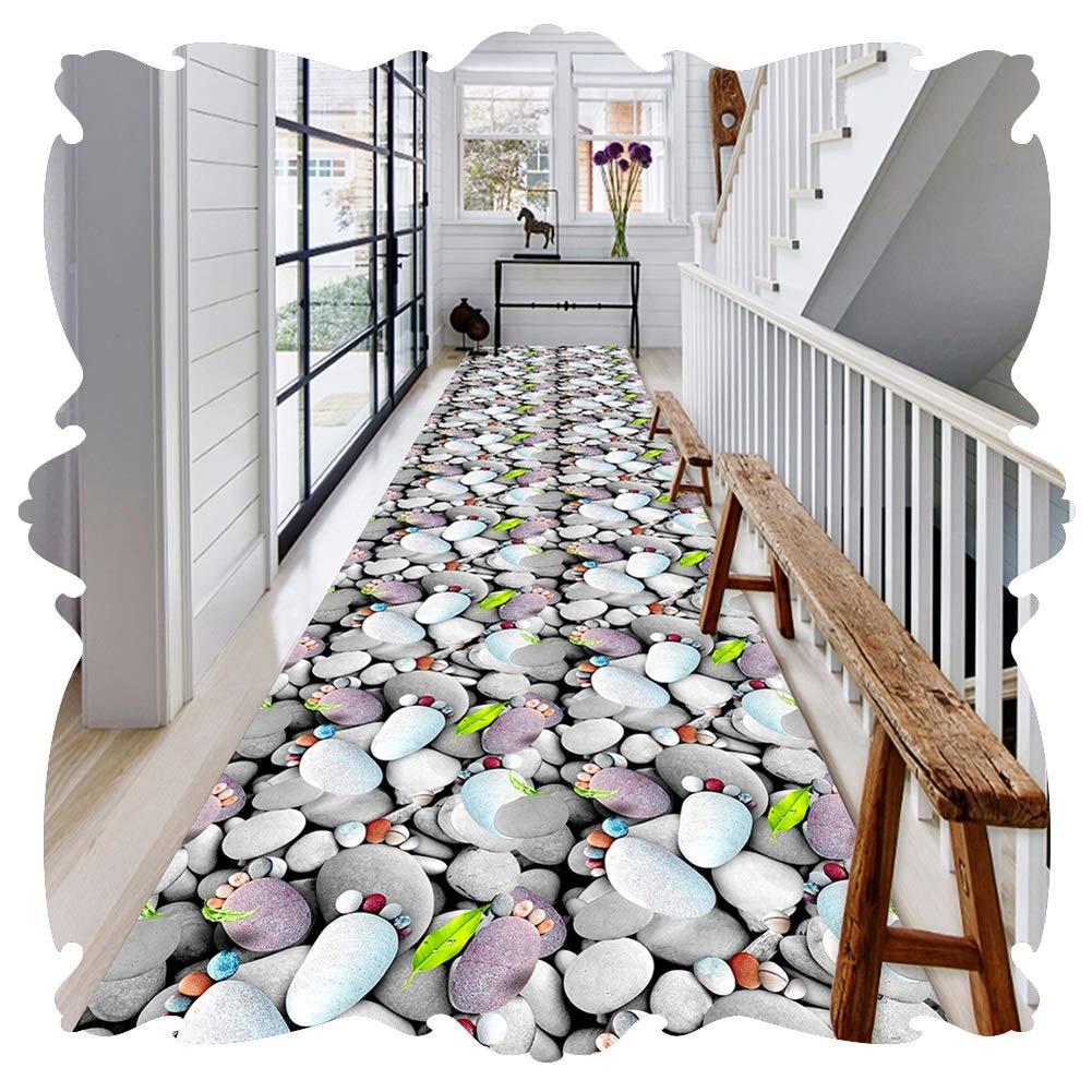 YANGJUN 廊下敷きカーペット ラグ ランナー 洗える イージーケア 柔らかい 滑り止め 印刷 足 玉石 3D カッタブル カスタマイズ可能 (Color : A, Size : 1.6x6.5m) B07SNTNQ7N A 1.6x6.5m