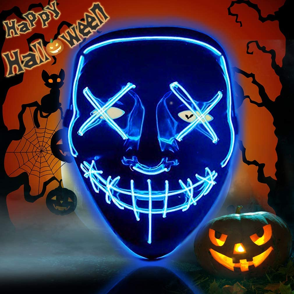 Purge Movie Flash Bright LED Wire Scary Mask Party Festival Halloween Costume