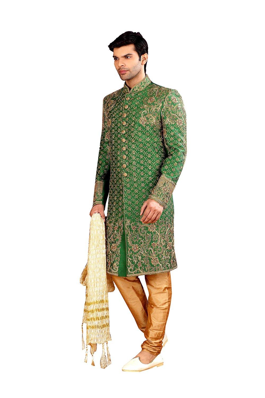 PCC Mens Indo Western Wedding Green Designer Partywear Traditional R-2541