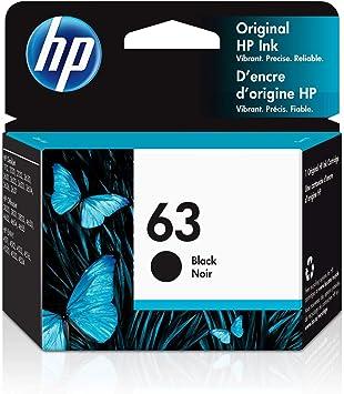 HP 63 | Ink Cartridge | Black | Works with HP DeskJet 1112, 2100 Series, 3600 Series, HP ENVY 4500 Series, HP OfficeJet 3800 Series, 4600 Series, 5200 Series | F6U62AN