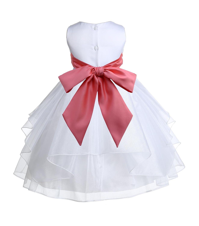 ekidsbridal White Satin Shimmering Organza Flower Girl Dress Christening Dresses 4613S